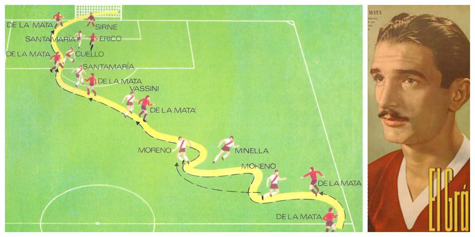 Gráfico del golazo de De la Mata a River, en El Monumental.